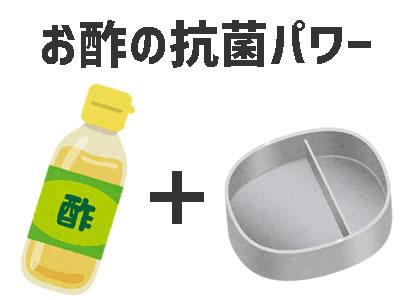 食中毒を防ぐ酢で弁当箱を拭いて抗菌