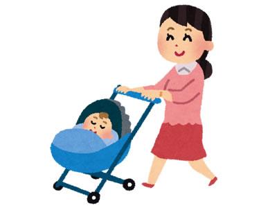 ベビーカーの赤ちゃんとママ虫よけ
